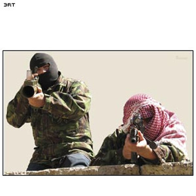 Two Men w/ AK-47 and RPG Terrorist Photo Target