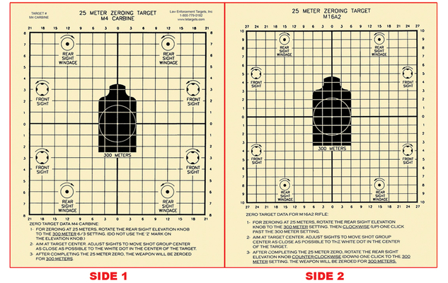 M4/M16 25-Meter Two-Sided Zeroing Target