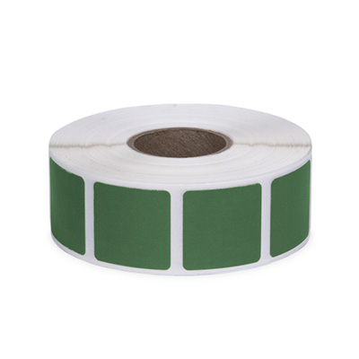 "Roll of 1000 7/8"" Square Target Pasters (Green)"