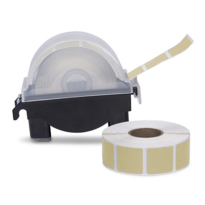 "Roll of 1000 7/8"" Square Target Pasters with Plastic Dispenser (Ivory)"