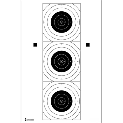SR-21C Three Bull's-Eye Training Target - ALL WEATHER RESISTANT TARGET ON HEAVY PAPER