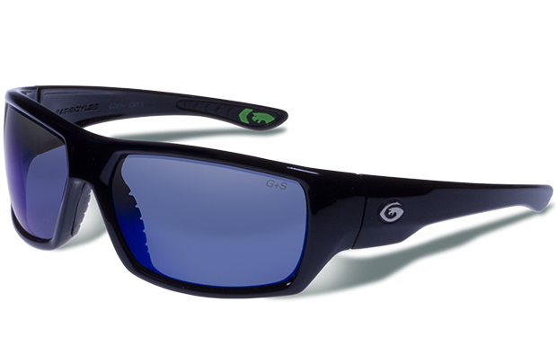 Wrath - Black - Smoke Polarized with Blue Mirror Lense - Gargoyles