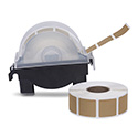 "Roll of 1000 7/8"" Square Target Pasters with Plastic Dispenser (Brown)"