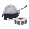 "Roll of 1000 7/8"" Square Target Pasters with Plastic Dispenser (Dark Gray)"