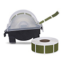 "Roll of 1000 7/8"" Square Target Pasters with Plastic Dispenser (Dark Green)"