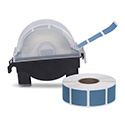 "Roll of 1000 7/8"" Square Target Pasters with Plastic Dispenser (Light Blue)"