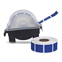 "Roll of 1000 7/8"" Square Target Pasters with Plastic Dispenser (Dark Blue)"